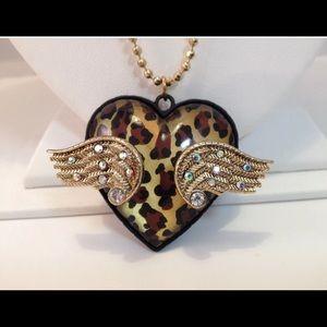 Betsy Johnson wing heart necklace